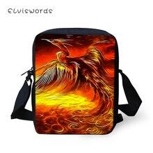 ELVISWORDS Fashion Women Messenger Bags Fire & Ice Phoenix Prints Pattern Shoulder Girls Flaps Handbags Mini Kids Mochila