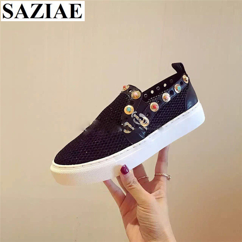 2017 Woman Casual Shoes Platform Genuine Leather Loafers Mesh Shoes Woman Big size 34-40 String Beading Black White Women Shoes