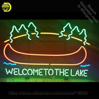 WELCOME TO THE LAKE Neon Sign neon bulb light Sign glass Tube Handcraft Commercial Iconic Neon light Bright Color Characteri|Neon Bulbs & Tubes| |  -
