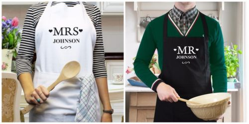 Personalised name bride groom Mrs Mr Apron Wedding aprons Gifts Cooking Kitchen Mother's Day Mum Aunt