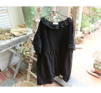 2018 new high quality autumn vintage Japanese style black short sleeve loose shirt women top