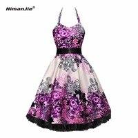 HimanJie Woman Dress 2017 Summer Halter Vintage Polka Print Dress Retro Cocktail Party 50s 60s Rockabilly