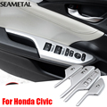 For Honda Civic Sedan 10th 2016 2017 LHD Car Window Switch Panel Covers Chrome Trim Chromium  Interior Decoration Accessories
