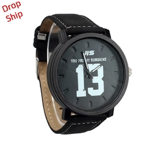 Relogios feminino Fashion Quartz Analog Faux Black Leather Band Wrist Watch with Number 13 and 14 DROP SHIPPING J17W30