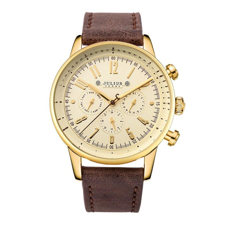 New Julius Mens Homme Wrist Watch Fashion Hours Dress Bracelet ISA Mov Leather Business School Boy Birthday Christmas Gift 094