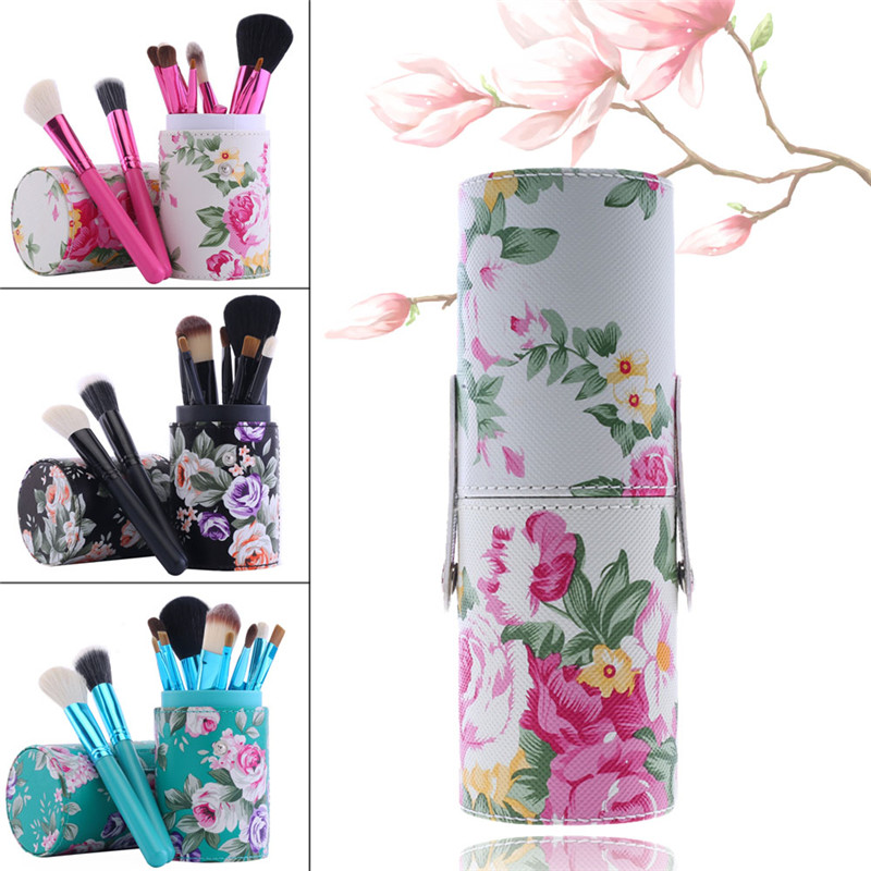 Floral Print Makeup Brushes Holder Cosmetic Case Makeup Brushes Container Beauty Tools Round Travel Empty PU Leather Holder Cup dot print round gasbag phone holder