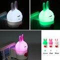 Criativo Animal Bonito Luzes LED Lâmpada Coelho Mini LED de Carregamento Luz Da Noite Dos Desenhos Animados LED Nightlight com As Orelhas em Pé 2017 Novo