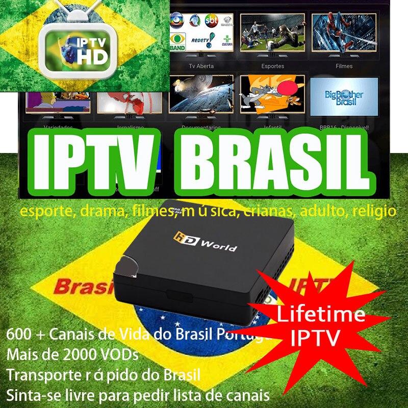 Durée de vie HD World iptv Android box DDR3 1 GB 8 GB support brésil Latin 6000 + portugais brésil Sports enfants musique drame films chauds