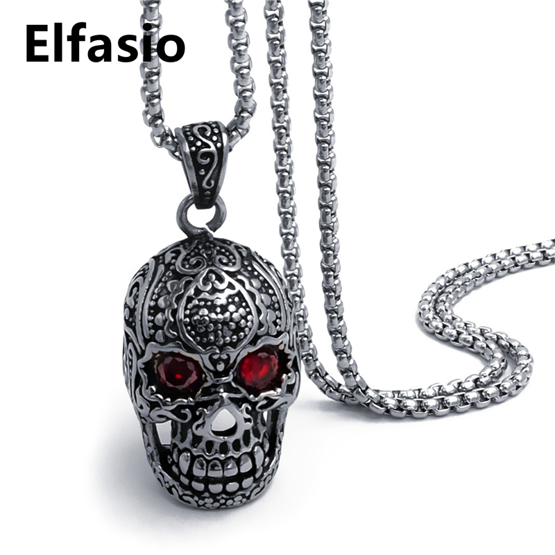 Mens Boys Gothic Skull Red Black CZ Biker Pendant with Stainless Steel Necklace Chain Jewelry 46-76cm