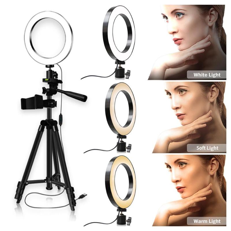 LED Selfie Ring Light 3200-5600K Studio Photography Photo Fill Ring Light With Tripod For Iphone Smartphone Makeup Diameter 20cm