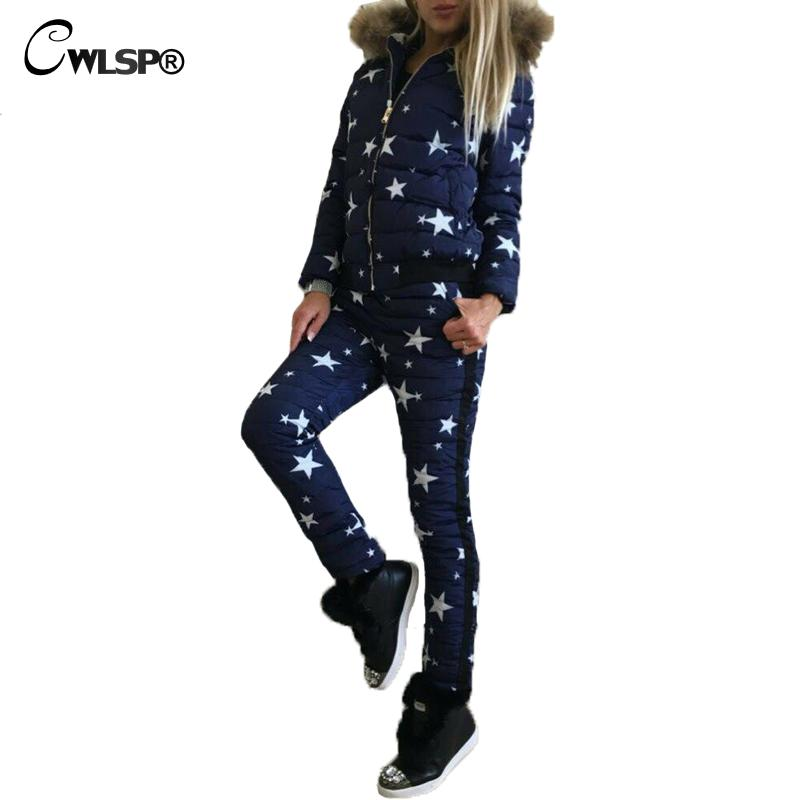 2 pcs sets Womens Fashion Winter Camouflage Star Printed Jacket Sets With Fur Sportwear Tracksuits Warm Down Cotton Hooded Coats