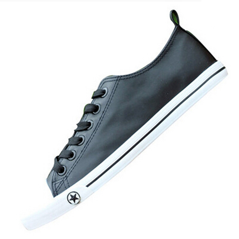 ФОТО 2017 New Men's Casual Shoes Classical Low top White Black Shoes Flat all size 39-44 Star pattern Male Footwear Leather X011804