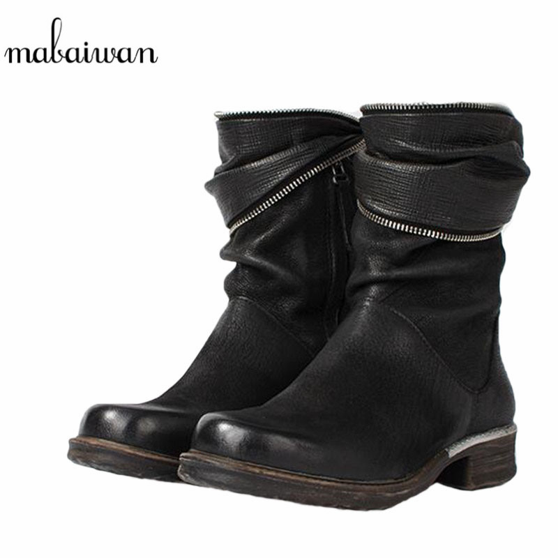 Mabaiwan Winter Autumn Women Shoes Genuine Leather Snow Ankle Boots Short Plush And Sheepskin Warm Militares Shoes Women Flats