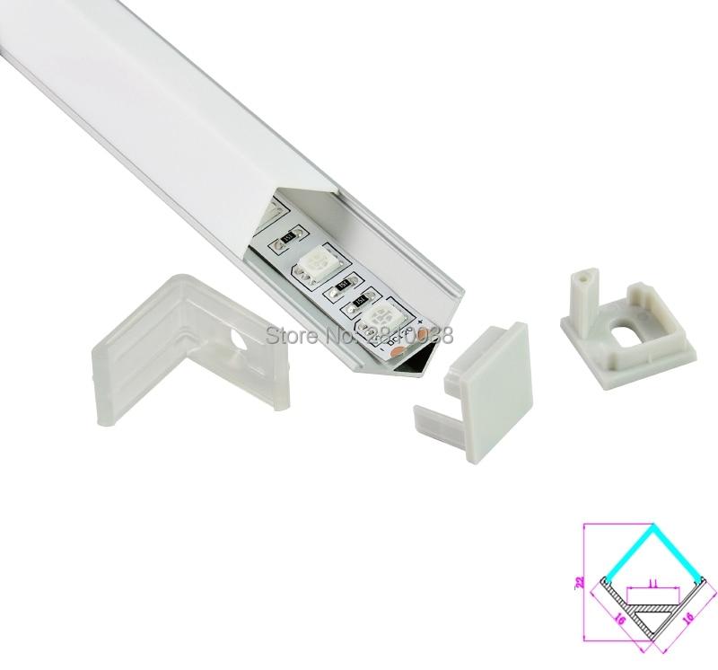 10 komplekti / partijas taisnā leņķī anodēta sudraba LED alumīnija profils AL6063 alumīnija vadīts profils alu vadīts kanāls kabineta apgaismojumam