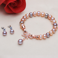 2017 HOT S925 Sterling Silver Inlaid With Zircon Bow Tie Really Natural Freshwater Pearls Jewelry Set