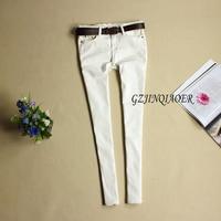 Sale 2014 Jeans Women White Skinny Denim All Match 100 Cotton Low Waist 25 28 Casual