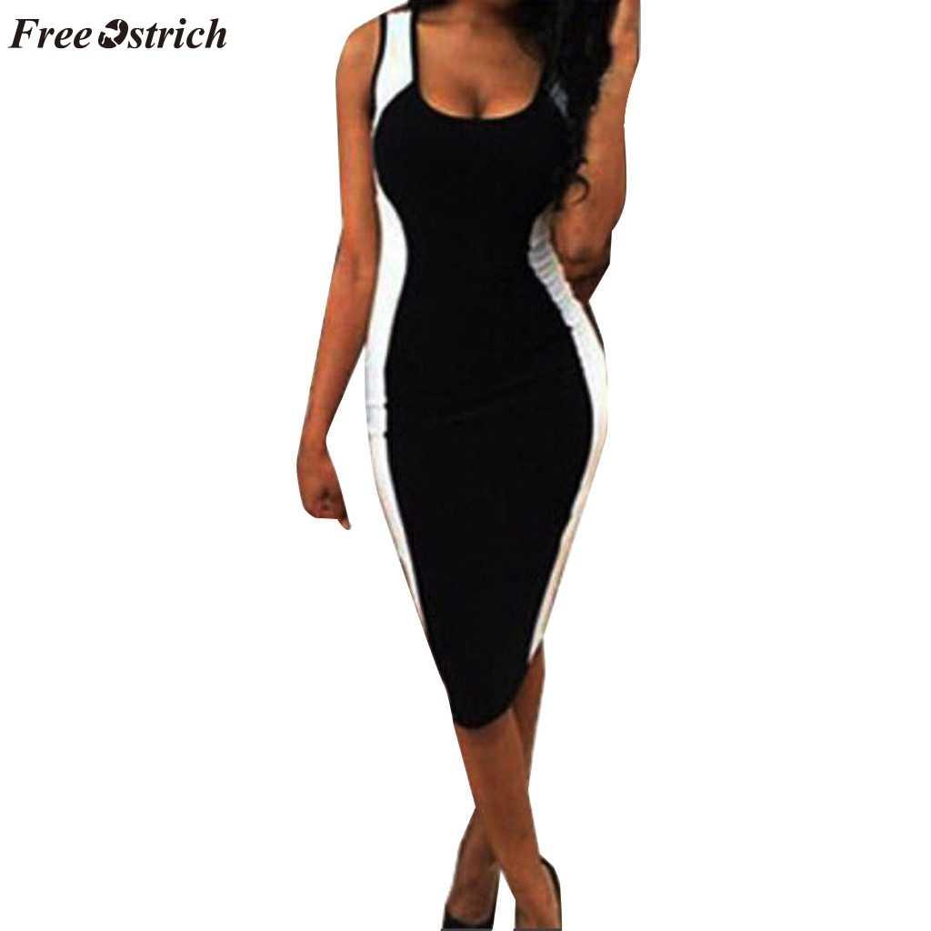 Autruche gratuite nouvelle robe moulante grande taille femmes noir et blanc rayé personnalité grande taille robe Slim robe crayon