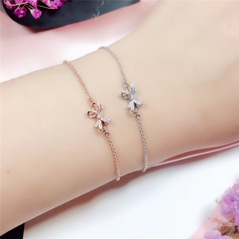QYI Butterfly Knot 18k Rose Gold Diamond Bracelet Women Fashion Bangle Romantic Female Jewelry Girl Gift Party Gift
