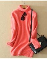 100% козья кашемировые утепленные однотонного трикотажа Женская мода на длинный пуловер свитер платье S 2XL в розницу и оптом