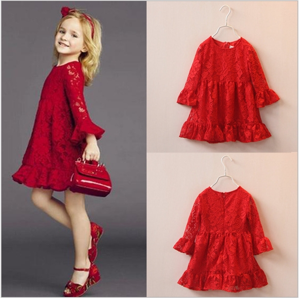 Подробнее о Girls Lace Dress Kids Spring Summer Dresses Red Party Clothing Children Girl Princess Clothes Drop Free Shipping Wholesale New 2017 new spring girls princess dress brand toddler dress baby girl clothes children party dresses 10 years old kids clothing red