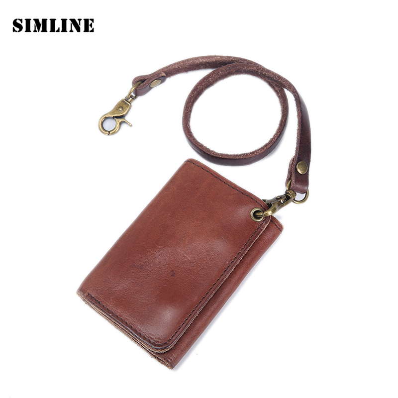 Vintage Handmade Genuine Vegetable Tanned Leather Cowhide Men Short Trifold Wallet Wallets Purse Card Holder With Leather Rope