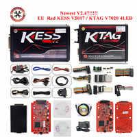 Professional ออนไลน์ V2.47 EU สีแดง Kess V5.017 OBD2 Manager ชุดปรับแต่ง KTAG V7.020 4 LED KessV2 5.017 ECU Programmer ฟรีการจัดส่ง