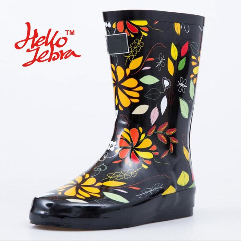 Women Black Rain Boots Printing Flower Lady Low Hoof Heels Mid Calf Slip Waterproof Round Toe Rainboots 2016 New Fashion Design hellozebra women rain boots lady low heels solid plain elatic waterproof welly buckle nubuck rainboots 2016 new fashion design