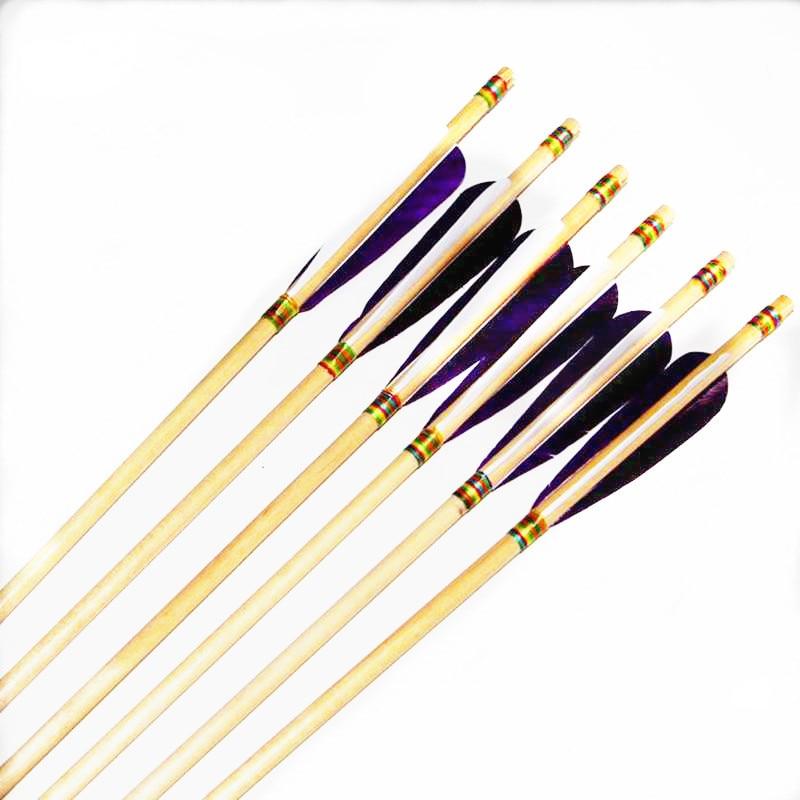 32 pouces flèches en bois traditionnel à la main dinde plume tir à l'arc flèche pour tir chasse Longbow composé arc classique