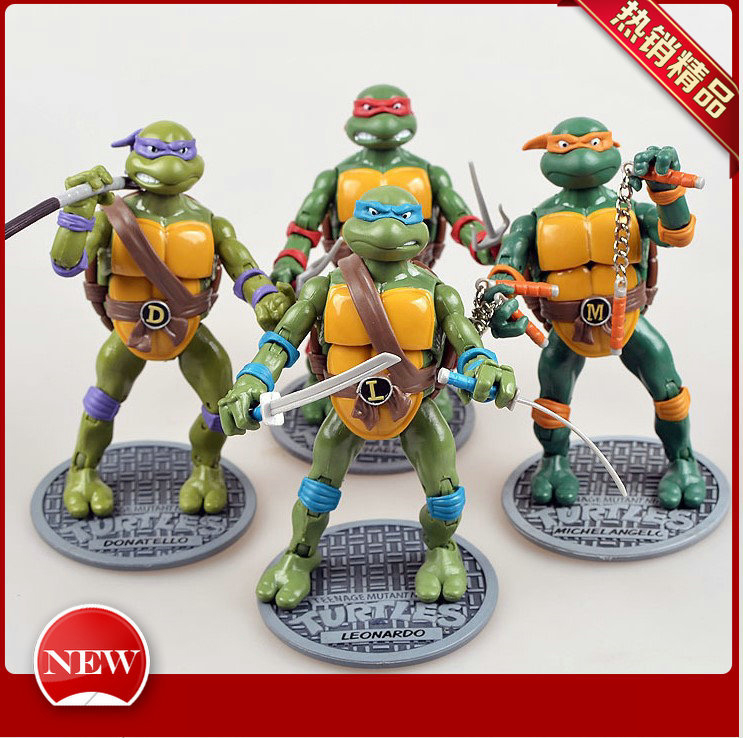 HOT 4pcs/set Boys Toys Ninja Action Figures Toy Classic Cartoon Model Collection New Year Kid's Gift