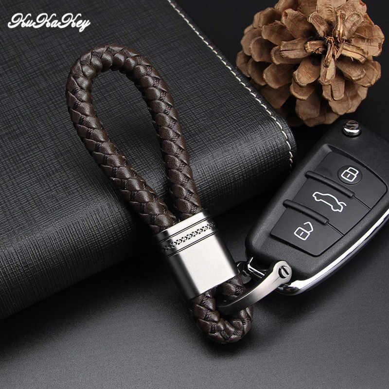 LLavero de cadena y anillo para coche de cuero PU KUKAKEY con emblema para Citroen Dodge Fiat Ford Honda Hyundai