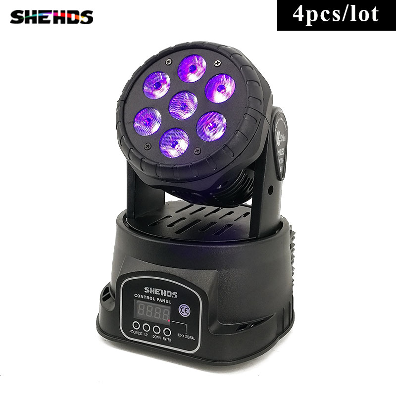 4pcs/lot Fast Shipping LED Wash 7x18W RGBWA+UV Moving Head Lighting 6in1 BGBWA+UV for Disco DJ KTV 12/16DMX Channels,SHEHDS