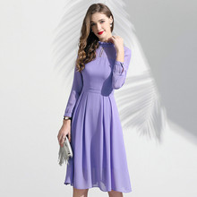 Long Sleeved Dress Women Chiffon Spring 2019 New Fashion Solid Color Ruffled Stand Collar Slim A-Line Elegant Dress M-XXL women chiffon dress elegant 2019 spring new fashion solid color turn down collar long sleeved ruffles slim a line green dress