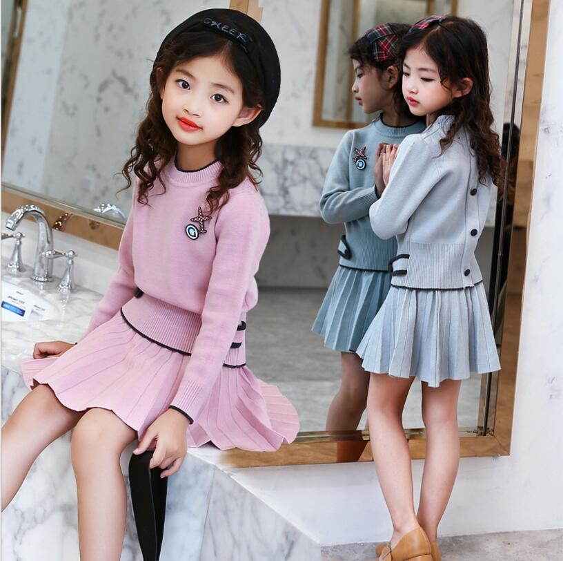 Girls Sets 2018 New Autumn Pink Knitted Suits Long Sleeve Sweater+Skit 2Pcs Kids Suits For 5 6 8 10 12 Years garyduck girls clothing sets kids knitted suits long sleeve houndstooth tops skirts 2pcs for girls suits