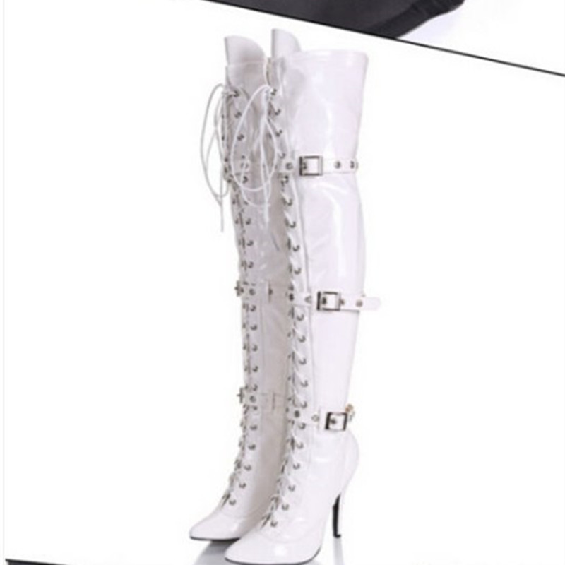 Bota Feminina White Black High Heel Pointed Toe Buckle Over The Knee Boots Lace Up Long Crotch Botines Motorcycle Shoes Woman