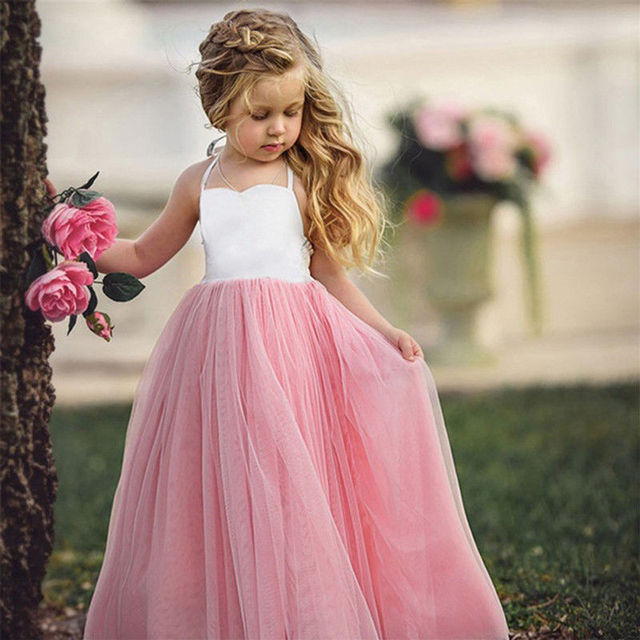 New Summer Girls Princess Dresses Birthday Party Wedding Tutu Dress Pink  Lace Beach Ball Gown Dresses 2018 Children Clothes bc2e3c795c3a