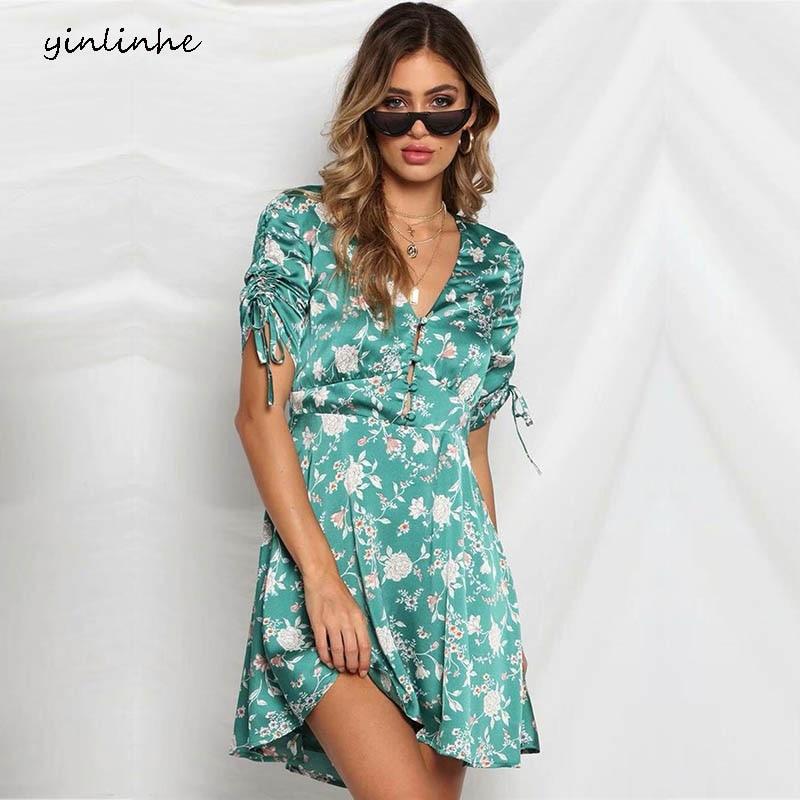 Yinlinhe Strain Floral Summer Dress Blue Drawstring Short
