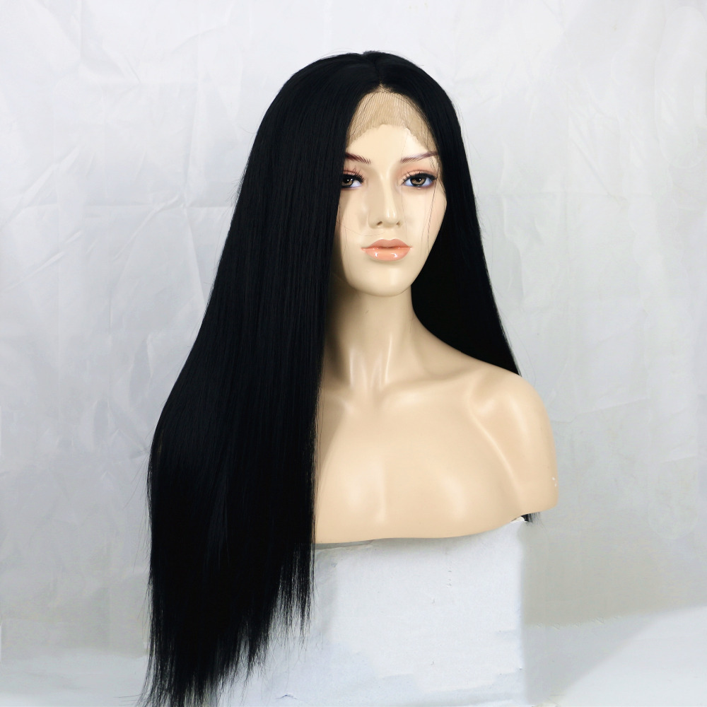Charisma Black 24 Inch Long Straight Synthetic Lace Front Wig 150 Density High Temperature Fiber Hand