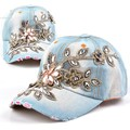 2014 New Fashion Leisure Rhinestones Flowers Jean Snapback Baseball Hat Cap For Women Adjustable Baseball cap 41