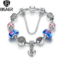 Strand Bracelet Silver Plated Friendship Bracelets With Blue Heart Charms DIY Girl Bracelet Accessories A1882