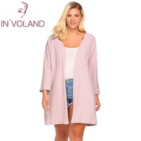 IN'VOLAND Women Cardigan Tops Plus Size 5XL Autumn Casual Batwing Long Sleeve Solid Open Front Loose Long Sweater Coat Big Size