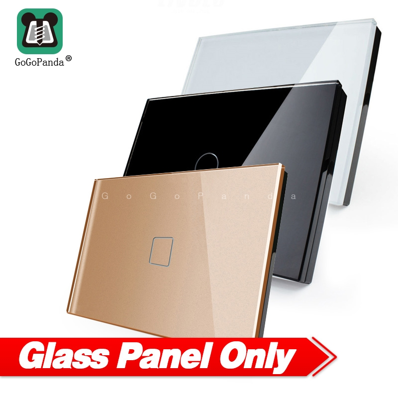 Touch Switch Panel Round Square 128mm *72mm US 1G 2G 3G Luxury Crystal Glass Panel White Black Grey Gold 1 Piece Not 3Pieces