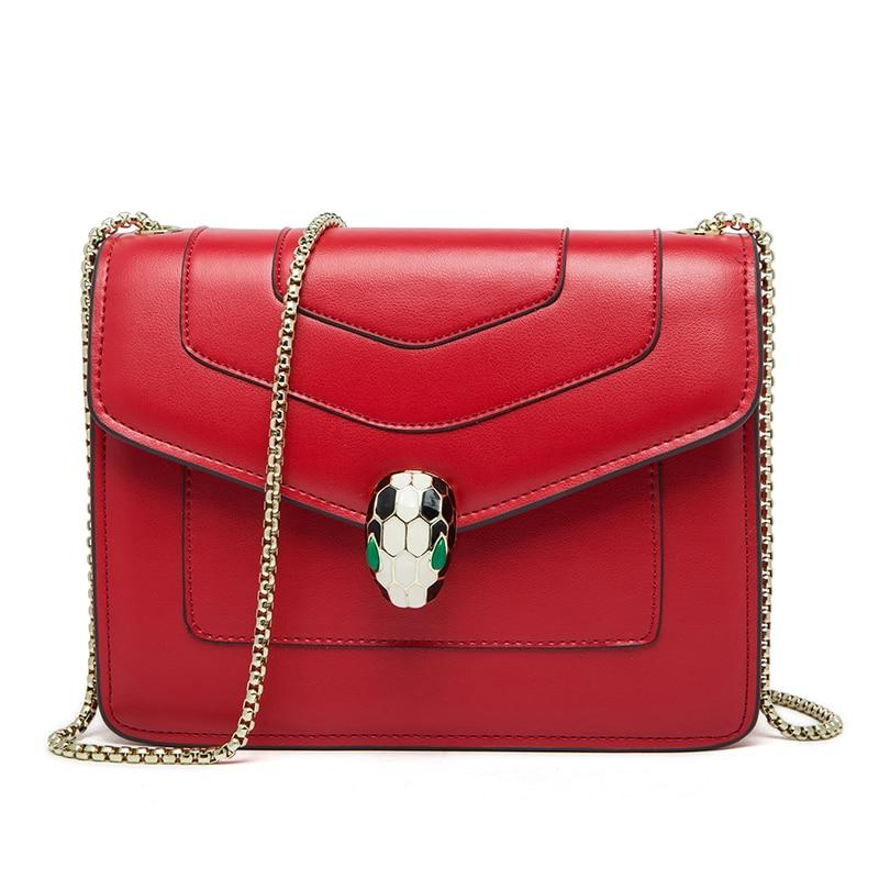 ФОТО 2017 High grade women's Genuine Leather chains bag ladies Shoulder Bags women messenger bags female Luxury Flap bolsa feminina