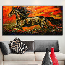 Hand-painted thick textured horse Oil Painting on Canvas red black running for Living Room office decoration