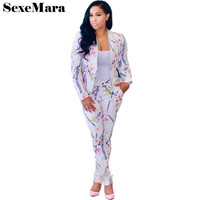 White Floral Print Casual Two Piece Set Top And Pants Autumn Long Sleeve Blazer Pant Suit