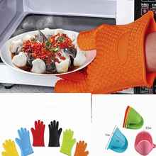 kitchen gadget 1ps food grade Heat Resistant Silicone Kitchen barbecue oven glove Cooking BBQ Grill Glove Oven Mitt Baking glove