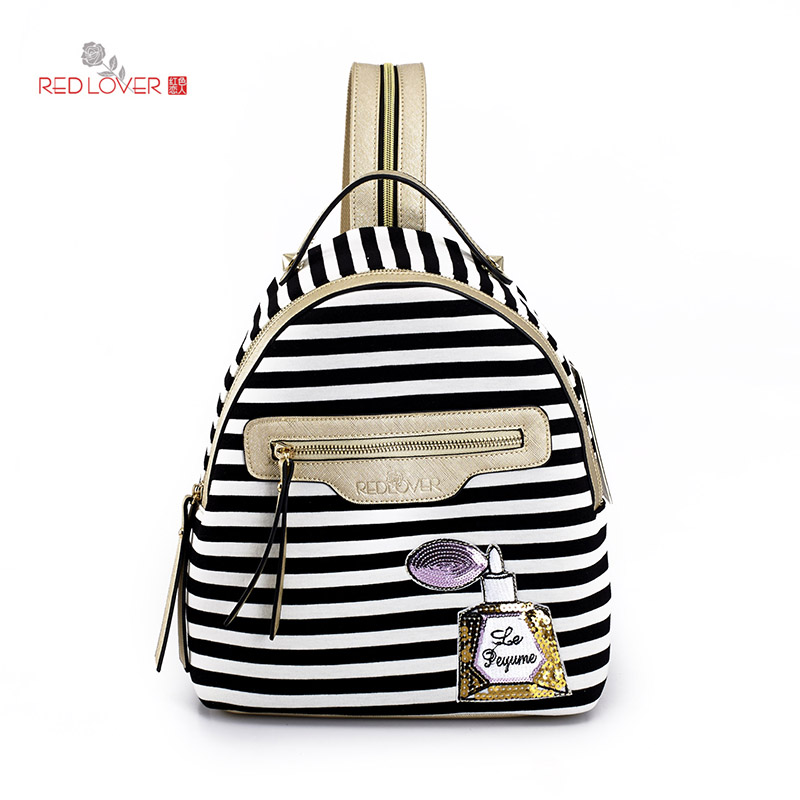 ФОТО Red Lover Women backpacks Striped Rucksacks Vintage Preppy style backpacks Cloth bag PU leather sac a dos