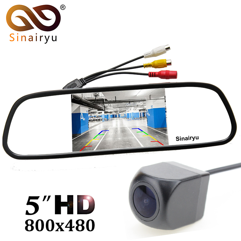цена на Sinairyu 170 Degree Fisheye Lens Car Rear View Camera with 5 Digital Color TFT Mirror Monitor, Reversing Backup Parking Camera