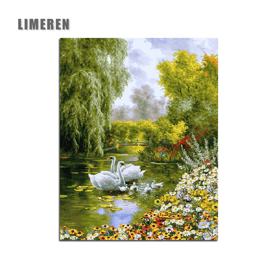 Swan Animals DIY Painting By Numbers Picture Dipinto di numeri Wall Art Canvas Painting Home Decor Unique Gift Artwork(China)