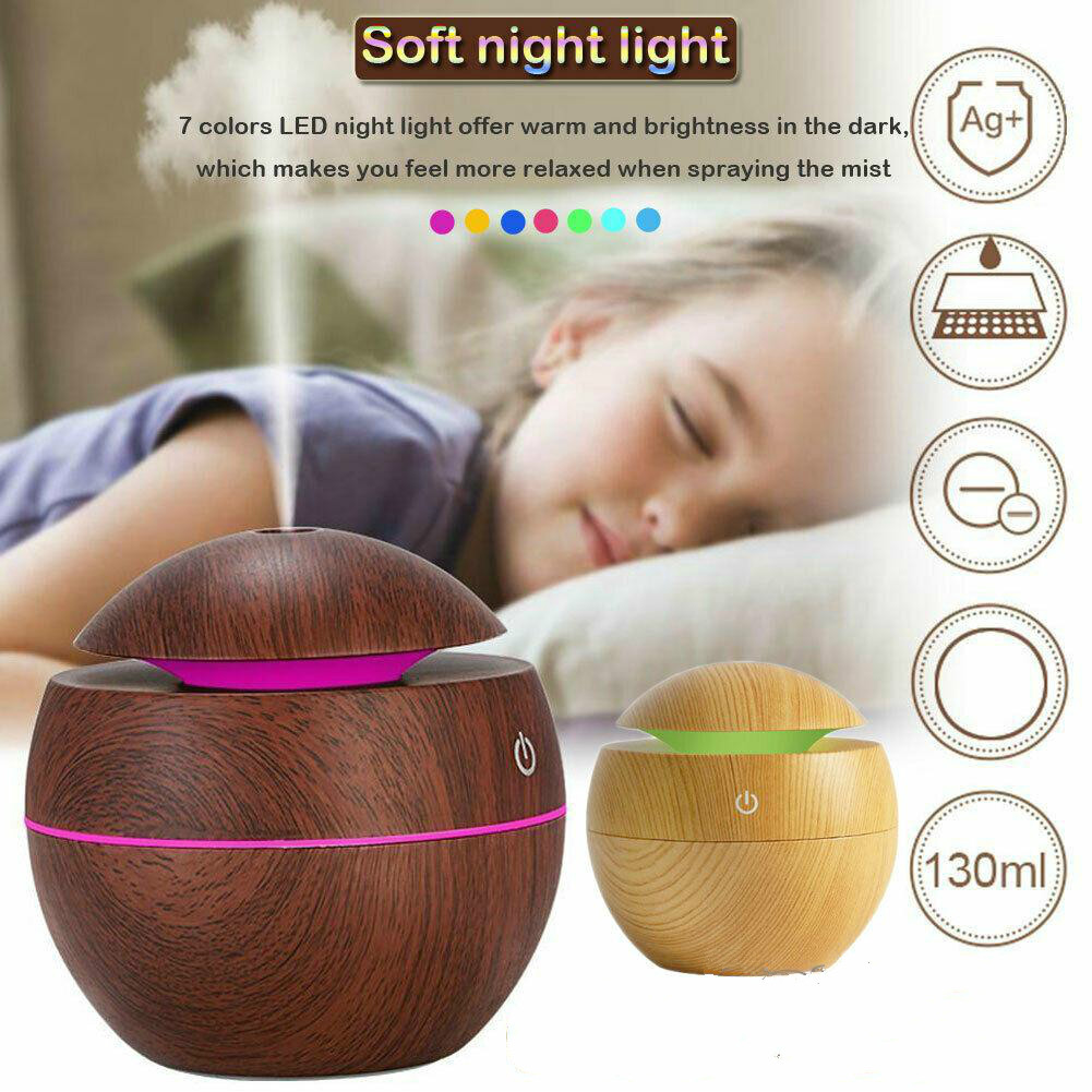 NC USB Wood Humidifier Grain Essential Oil Diffuser 130ml Ultrasonic Household Aroma Diffuser Aromatherapy Mist Maker With LED