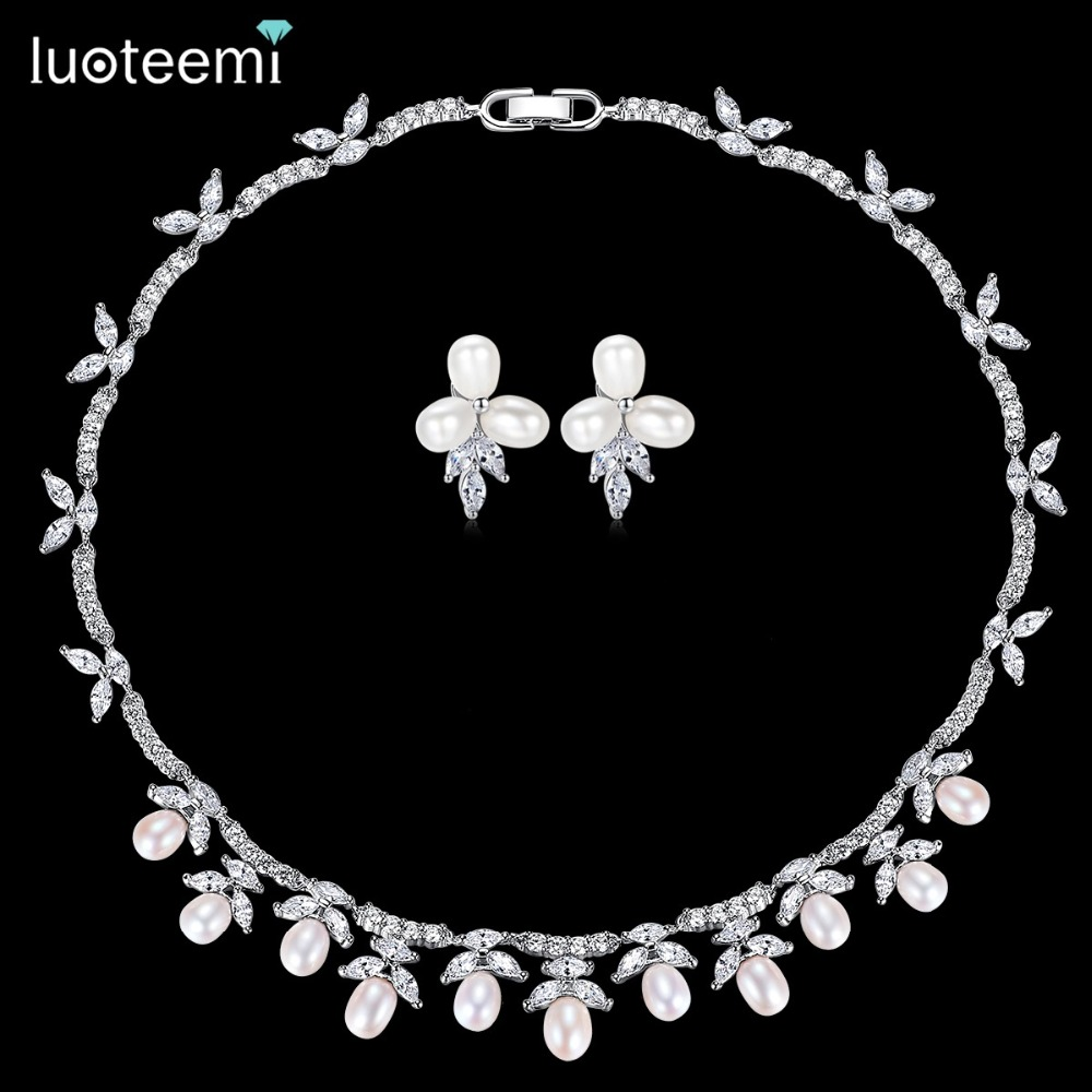 4b1ed410675a6 LUOTEEMI Silver Color Freshwater Pearl Collar Choker Necklace Wedding  Jewelry Sets Accessories Invisible Setting CZ For Valentin